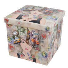 Foldable Square Folding Printed Fabric Storage Stool Ottoman